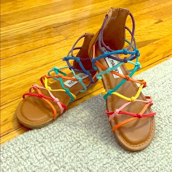 edbfd9bb808c Girls Size 11 rainbow gladiator sandals. M 5c473fb74ab633ea367c215e
